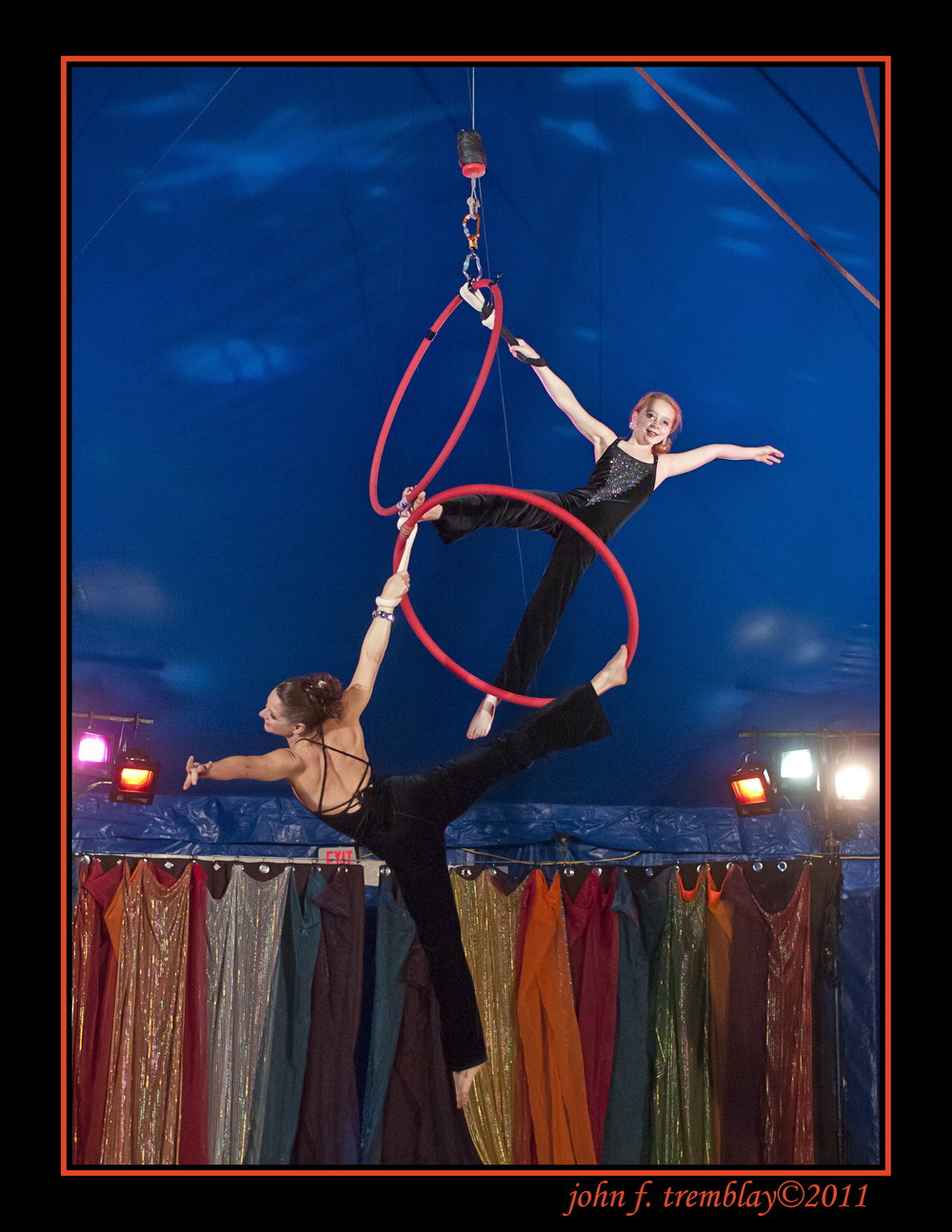 Melinda and Zoe - Melinda has CARRIED on the family tradition with her daughter since Zoë was born.  This mother-daughter Lyra  photo by john tremblay is from a tented show melinda produced in 2011 at the veteran's post 440 in nonantum, ma. Zoë has grown up surrounded by circus and dance and now produces shows in her own right.