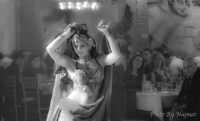 Melinda Melina Pavlata dancing at the lovely Karoun Restaurant. Portrait by Najmat Photography.