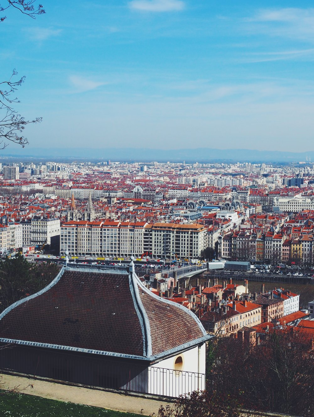 View of Lyon on the way up to the Basilica of Notre-Dame de Fourvière