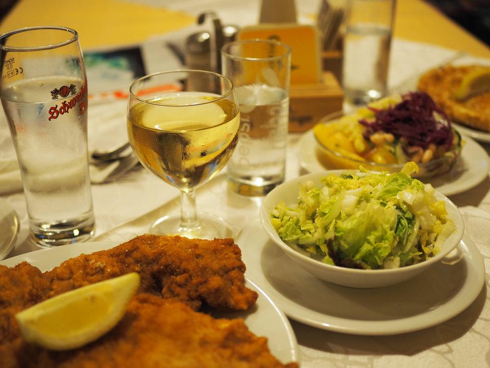 Schnitzel & a wien white wine spritzer