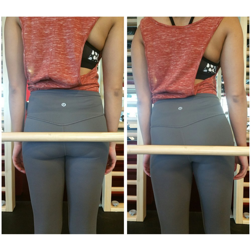(ii) Hips – do they tilt? You might need someone to spot you whilst you hold a stick across your hips.
