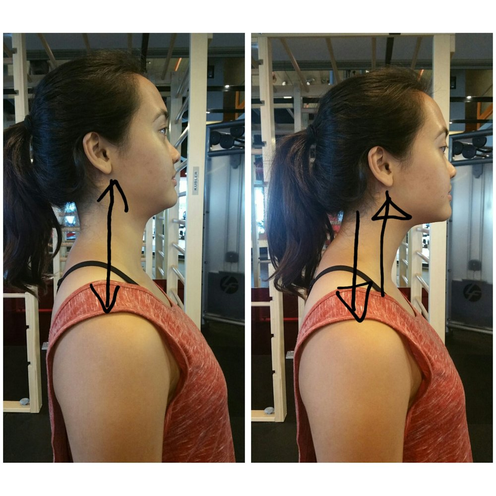 (v) Head position – Our earlobes should be aligned over the tops of our shoulder joint, what is most common now is the forward head.