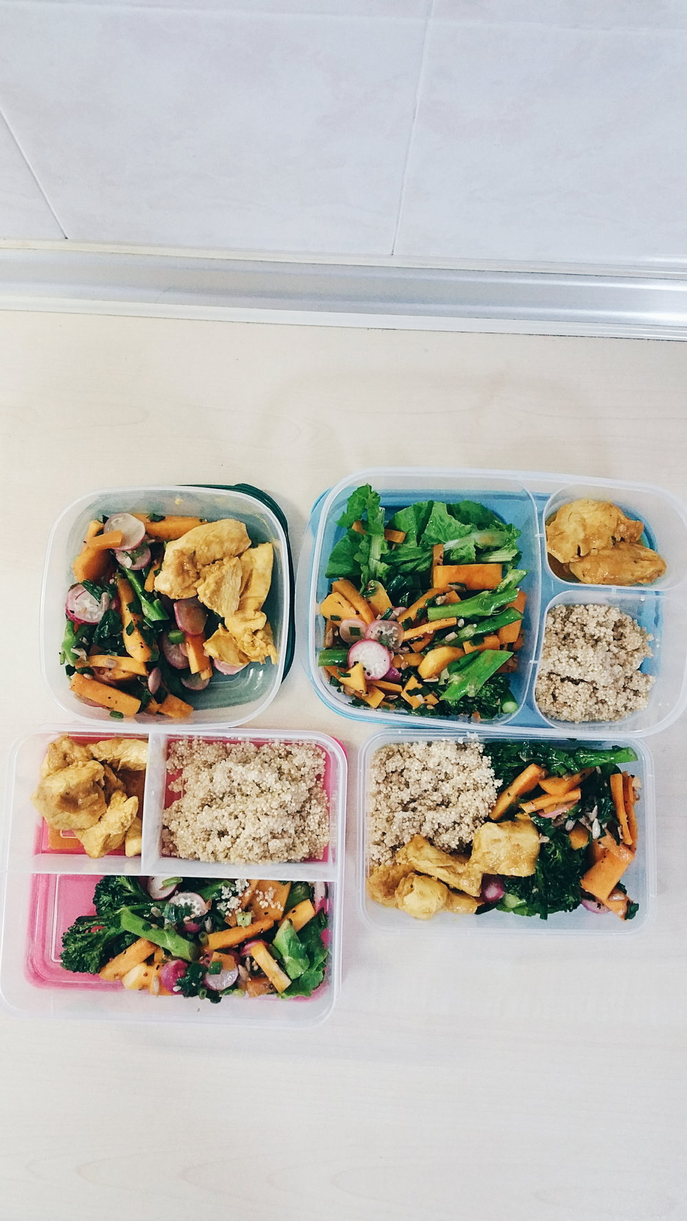 A typical representation of my meal prep on Sundays for 4 lunches a week. I include meat, an array of vegetables and some grains like quinoa in this instance.