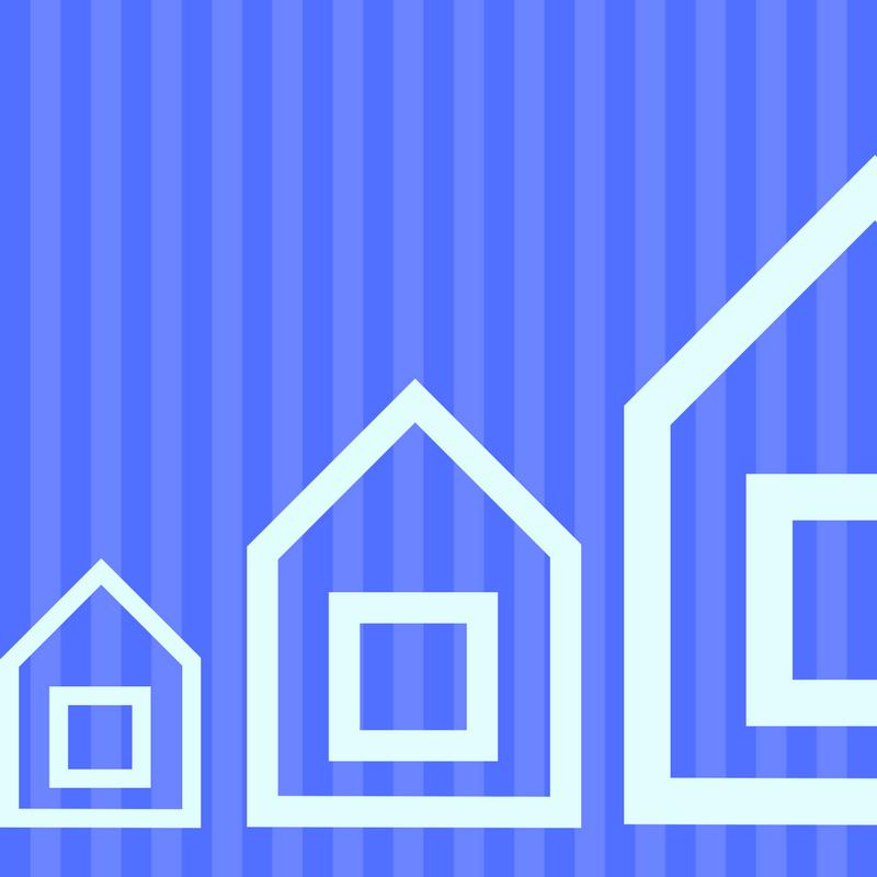 three houses ascending size illustration
