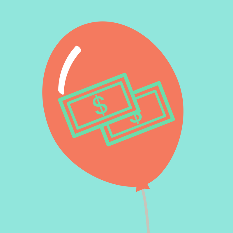 balloon with bank notes illustration