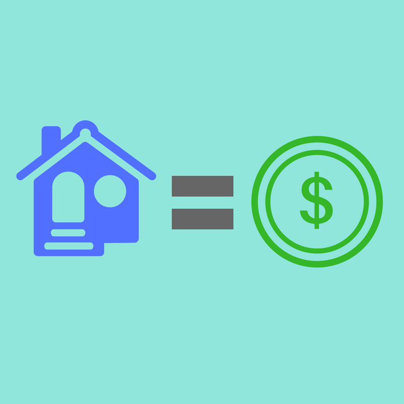 house equal sign and dollar sign illustration
