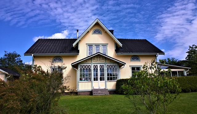 nice home under a blue sky