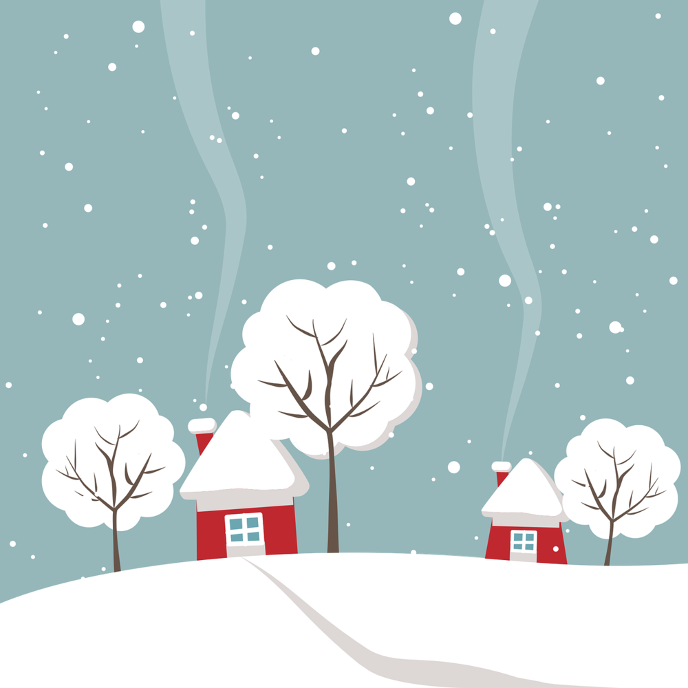 home and trees under snow illustration
