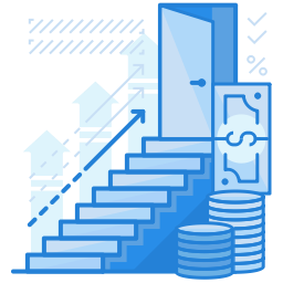 money stacked along staircase graphic