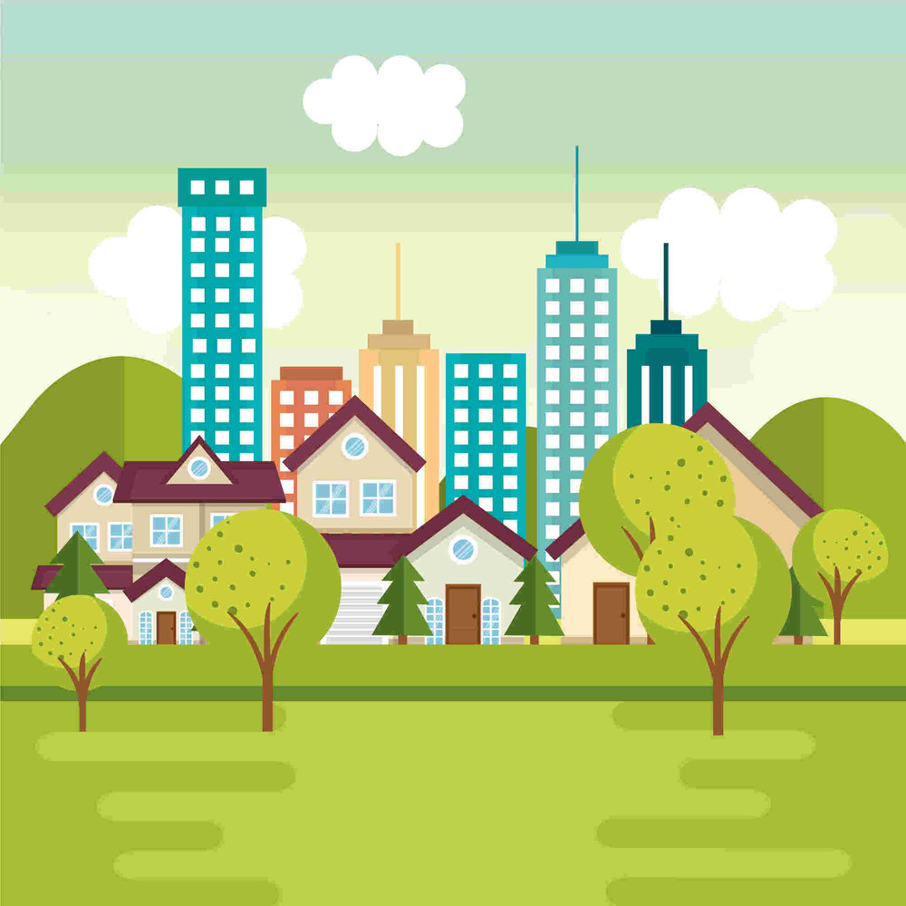 city and suburban homes illustration