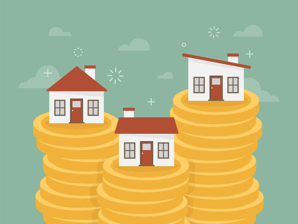 houses on stacks of coins graphic