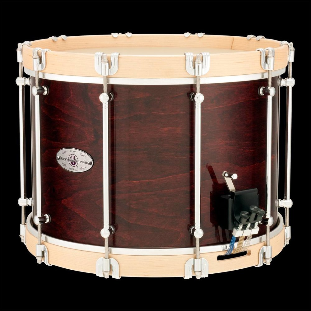 "Now available is this custom  Black Swamp Percussion  10"" x 14""  Symphonic Field Drum in Cherry Rosewood finish with steam-bent solid maple hoops!  Gorgeous!"