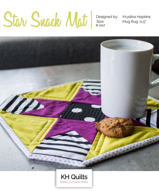 Star Snack Mat - This mug rug has a unique octagonal shape, and is a great way to do some scrapbusting of those tiny scraps you haven't be able to part with. This is a great hostess gift for the holidays, or a fun surprise for a special person (like you!).