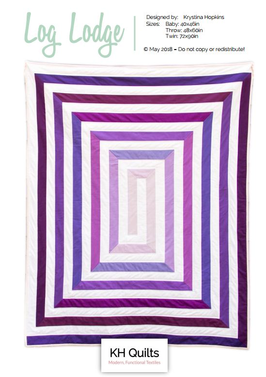 Log Lodge Quilt - Log Lodge is a fun, modern take on the classic log cabin quilt that I designed for this year's Pantone Quilt Challenge, celebrating Ultraviolet as the color of the year. Its rectangular shape makes it a great throw, and this design is a great way to practice your mitered corners.