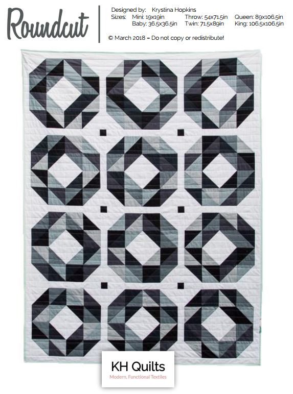 Roundcut - This is a classic HST quilt that uses solid fabrics and a bold, monochromatic color scheme to make high-impact blocks that play off the facets of a roundcut diamond.