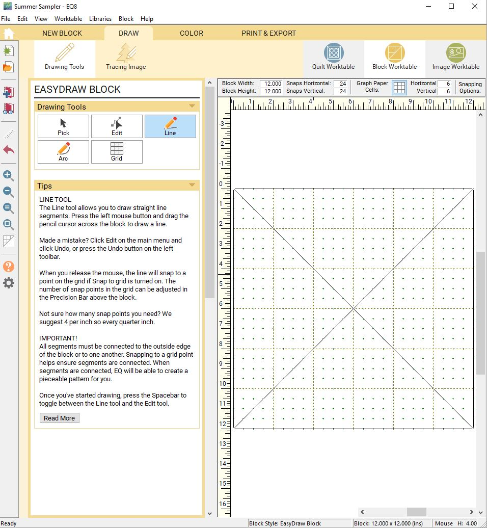 1. This is what the block worktable looks like. You can draw blocks here, or you can add prefab blocks from the EQ library directly to the quilt. I set my size and used the pencil to draw my hourglass seams, just like graph paper.