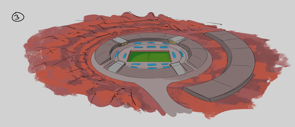 Typical circular stadium design with spectator and club vehicles parking on top side or a 2nd tier.