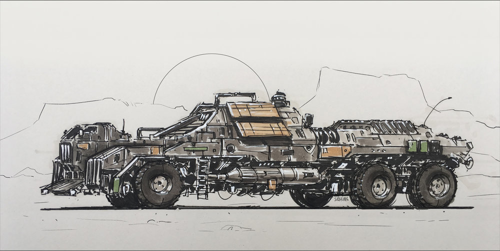 One of the multiple support vehicle used by Rover Scientific as they conduct research missions across Mars.