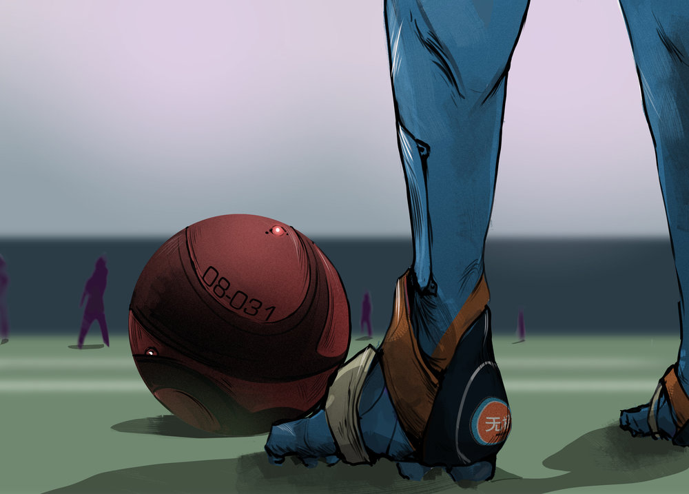 zeng prepares to take a corner kick for wuji