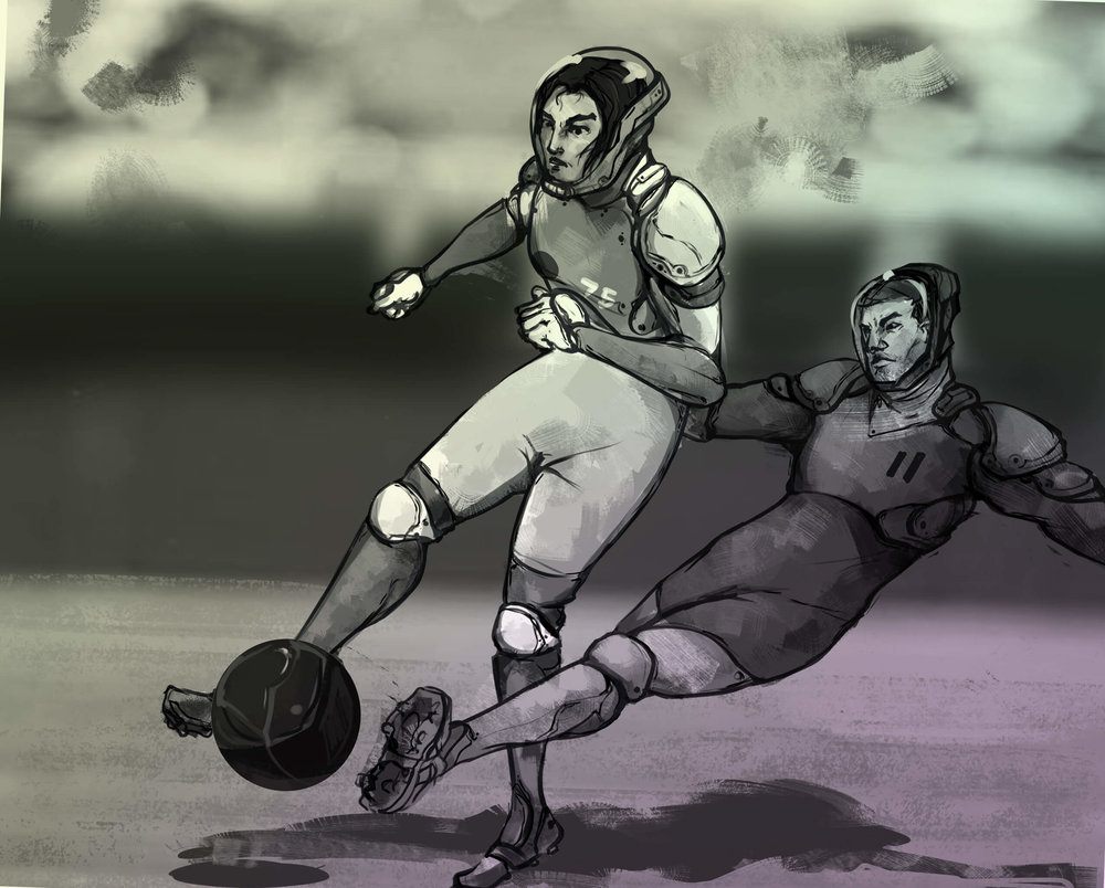 Parkar attempts to steal the ball with a sliding tackle.