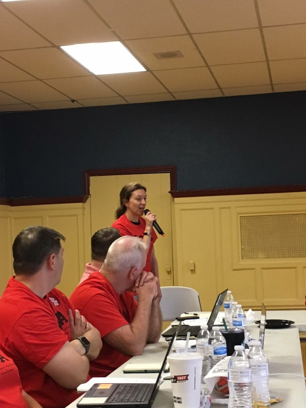 Anna Speaking out for fair pay at DCTA bargaining.