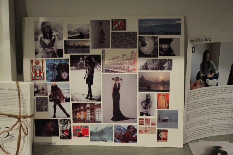 Rand & Camilla, T&C's founders and the hostesses of the night, asked each designer to bring in an inspiration board for their fall collections.  Above is a peek at mine~