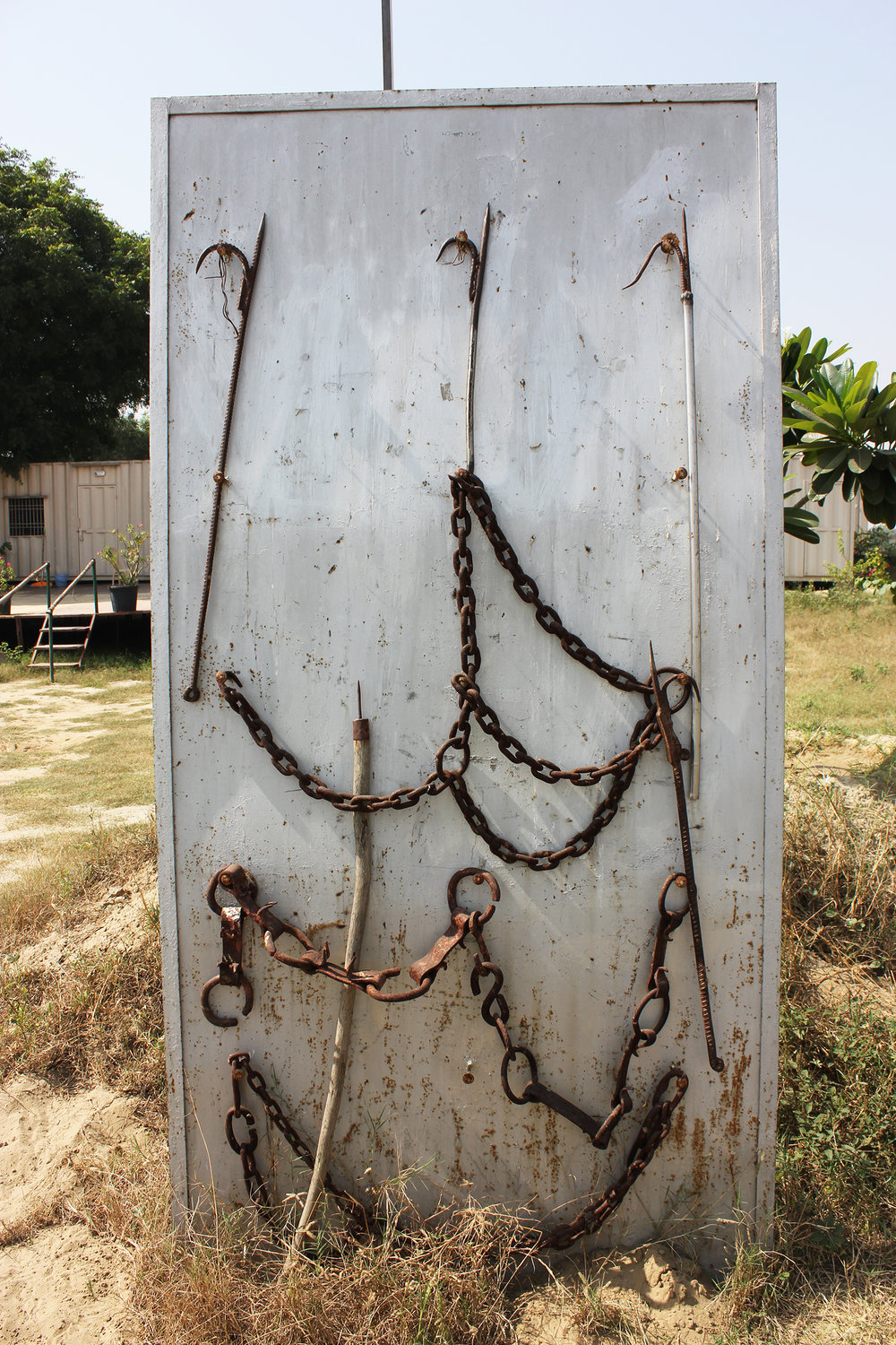 Close-up of the bullhooks and chains.