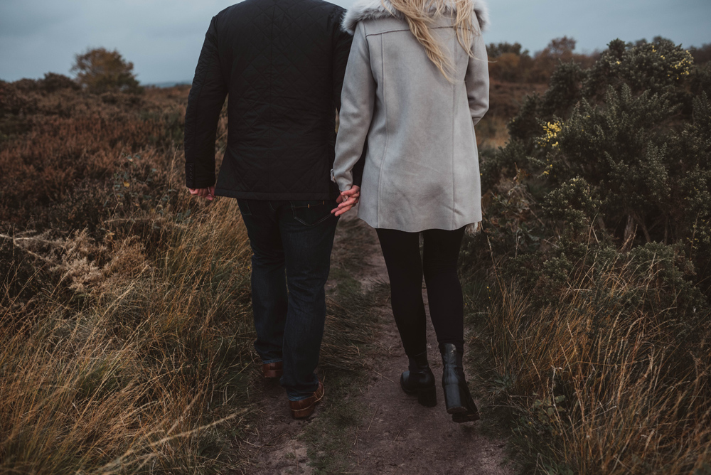 Laura and Danny walking away, Thurstaston Wirral