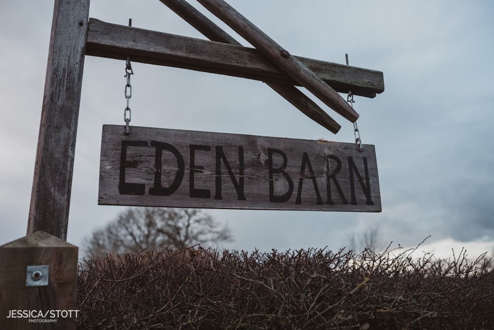 eden wedding barn sign in lake district cumbria