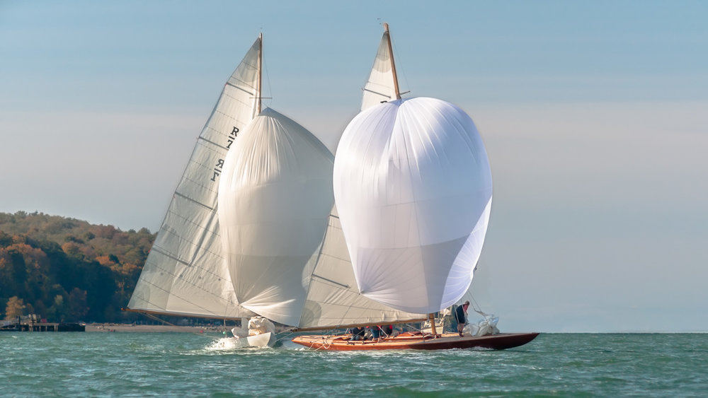 R-Class Boats with spinnakers flying