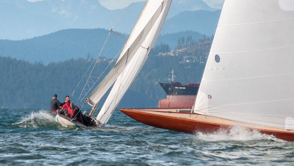R-Class Boats sailing upwind
