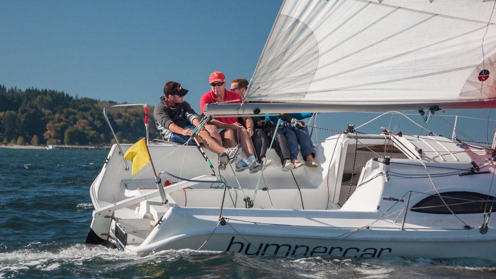 Martin 244 sailboat charging upwind