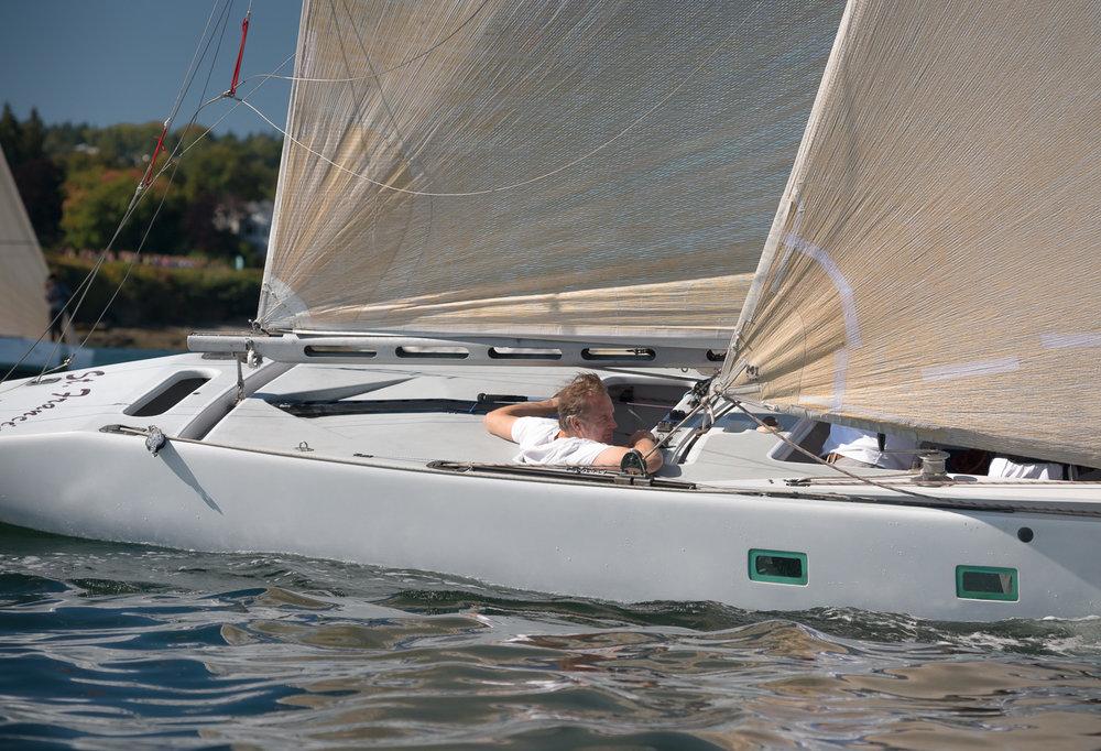 6 Metre yacht sailing upwind