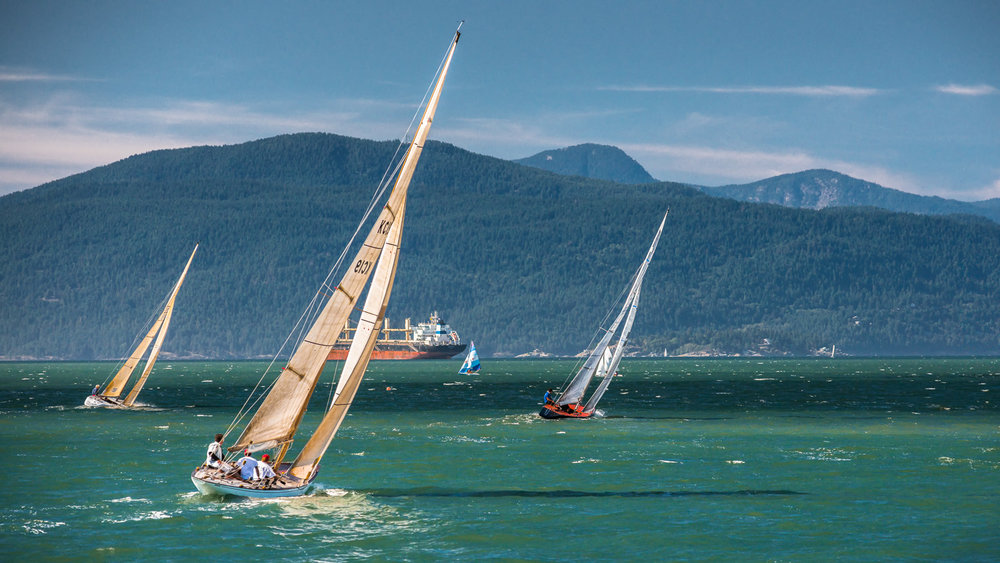 6 Metre yachts heading upwind in Vancouver