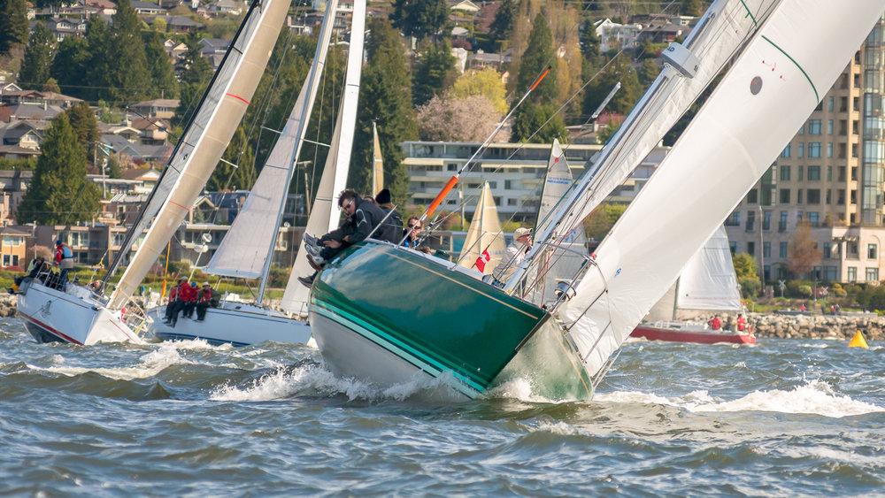 Sailboats racing in close quarters