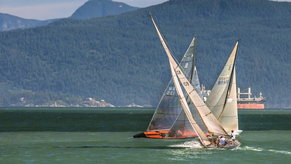 Three 6 Metres sailing on English bay