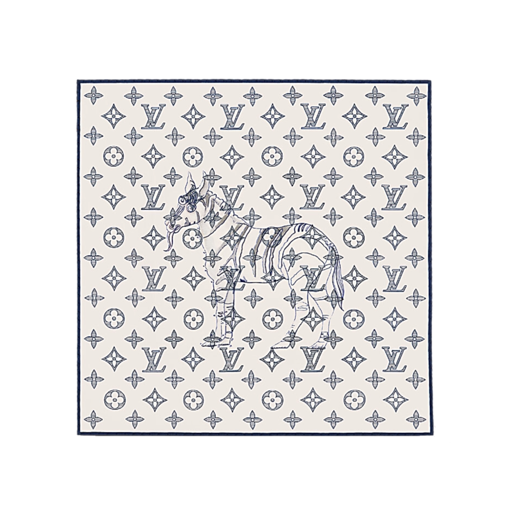 ELEPHANT POCKET SQUARE - €105 $150MP2058MONOGRAM SAVANE DUNE