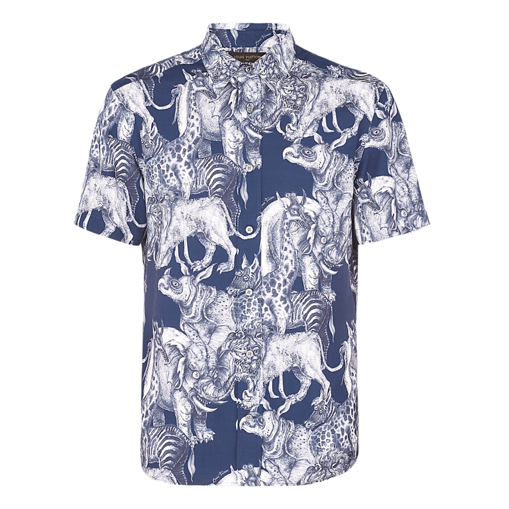 ALLOVER ANIMALS SHIRT - €3901A2I3IMARINE FONCE