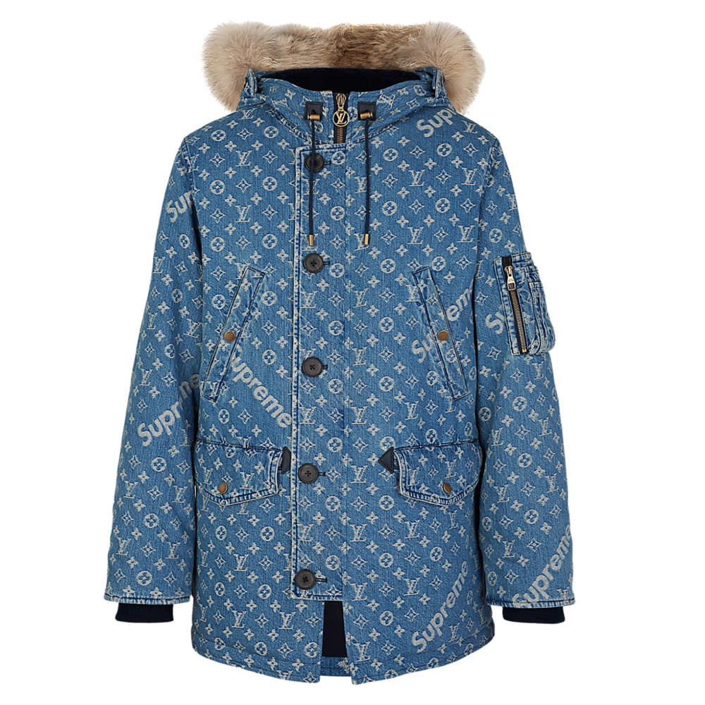 DENIM PARKA - €3200 $40001A3FTBMONOGRAM DENIM BLUE