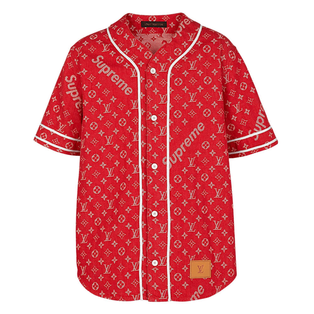 denim baseball shirt  - €790 $9851a3fedmonogram denim red