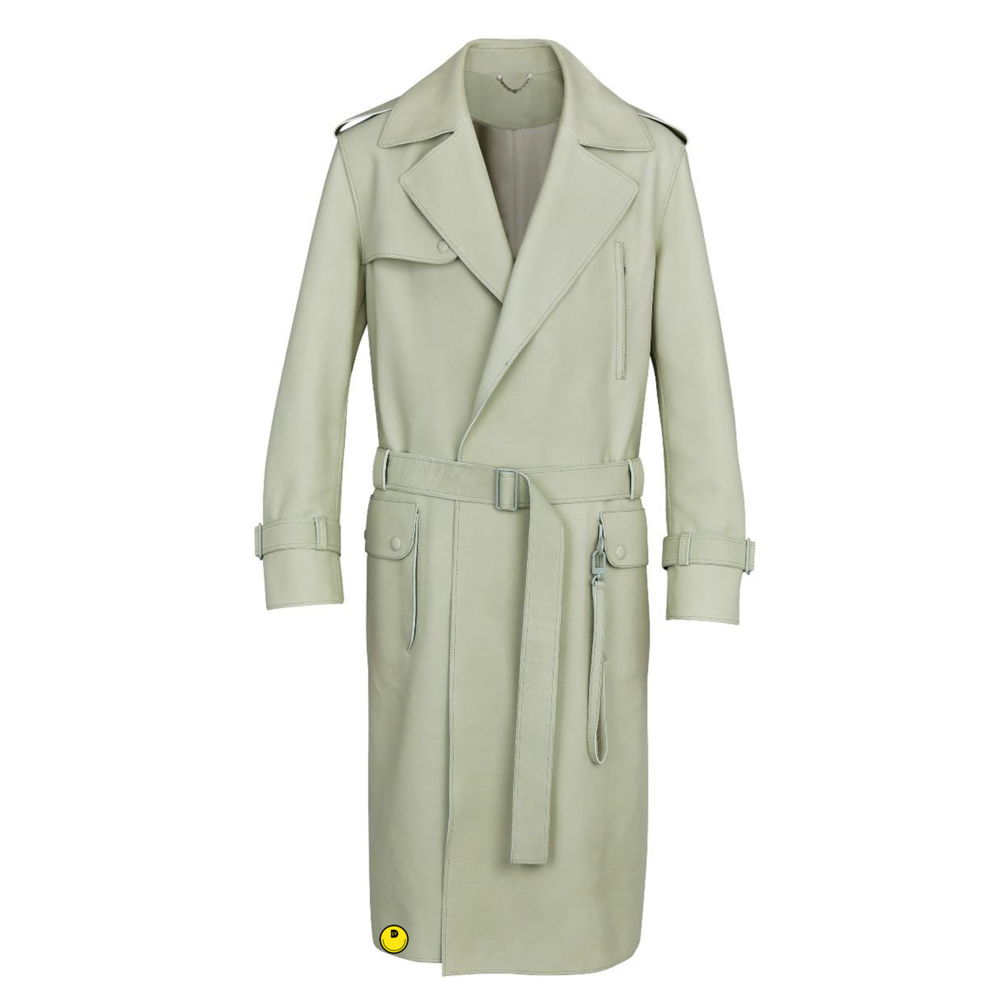 LEATHER TRENCH - €6900 $-VERT CENDRÉ