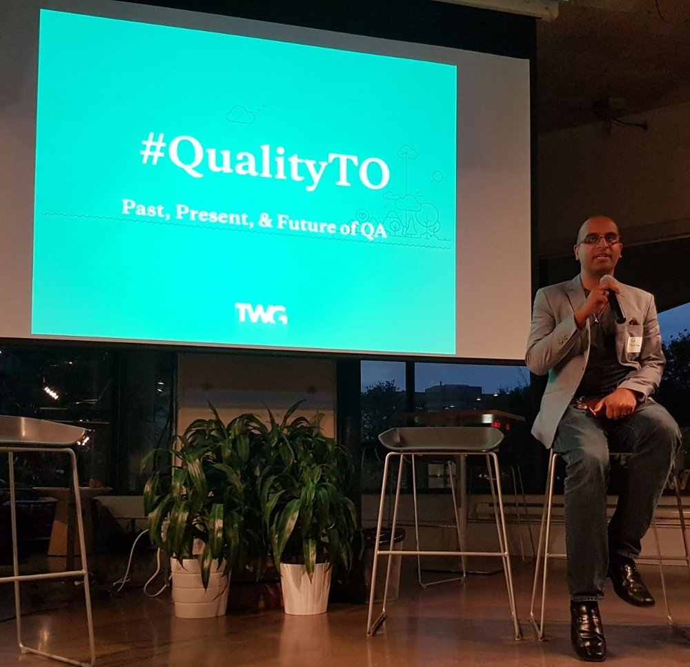 Assad Quraishi presenting at #QualityTO hosted by TWG, Toronto Ontario.