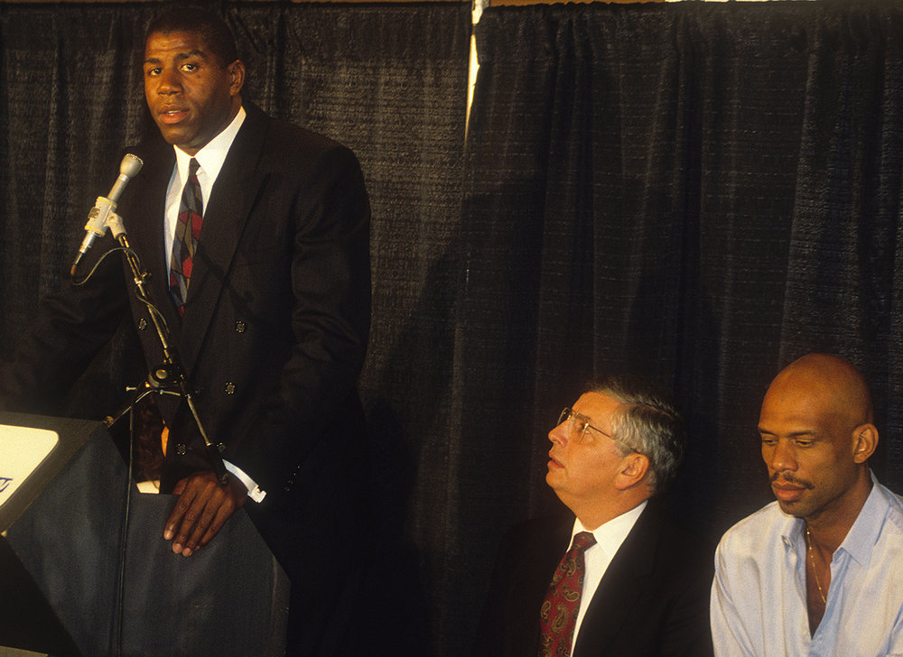 On November 7, 1991, Magic Johnson shocked the world with his announcement that he was HIV positive and, still in the prime of his career, retiring from the Lakers.