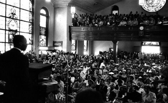 MLK preaching at Dexter Avenue Baptist Church in Montgomery, Alabama where he pastored from 1954 to 1960.