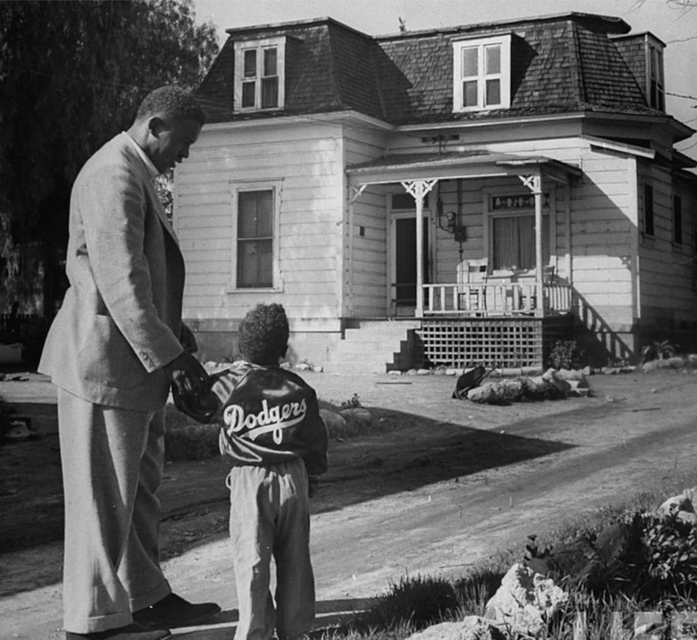 "While filming the movie ""The Jackie Robinson Story"", Jackie takes Jackie Jr. to visit his childhood home on Pepper St. in Pasadena, CA."