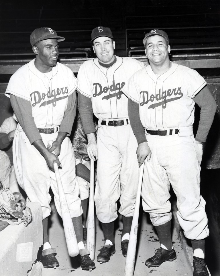 Jackie Robinson, Duke Snider, and Roy Campanella