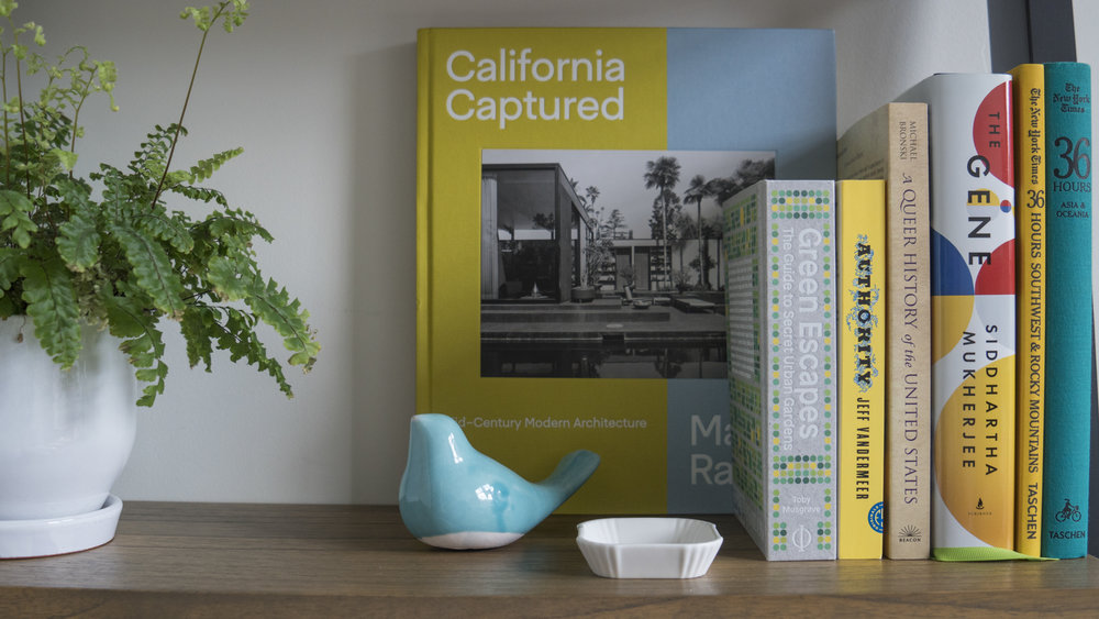 "I have an addiction to coffee table books and this ""California Captured: Mid-Century Modern Architecture"" is probably my favorite that I've ever purchased so far! In addition, I do love all the other books here as well as the maiden-hair fern. I snagged the ceramic birds on Etsy, and I think they are just the cutest!"