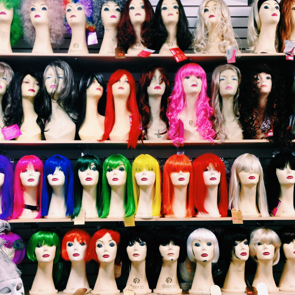 Imagine Le Fun costumes and wigs in the Plateau, Montreal via Lora Weaver Mysteries by Katy Leen