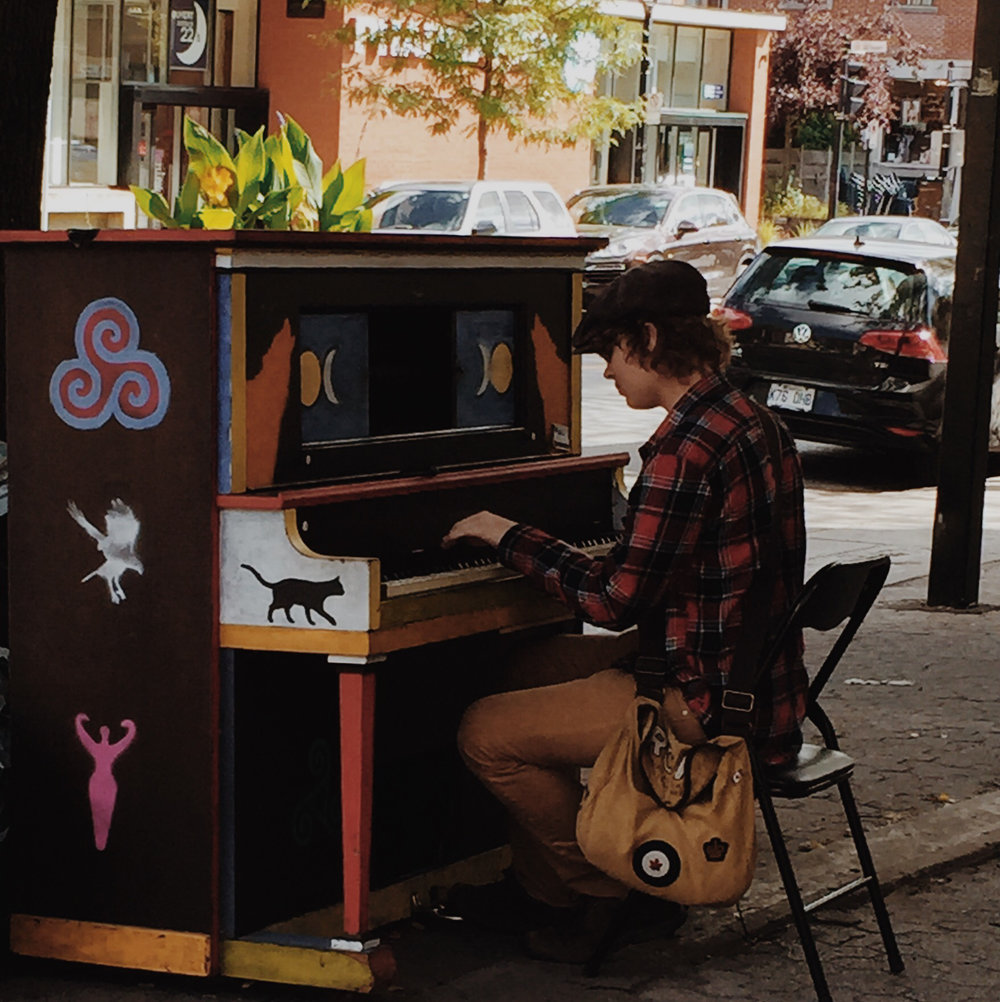 Public piano in Monkland Village via Lora Weaver Mysteries by Katy Leen