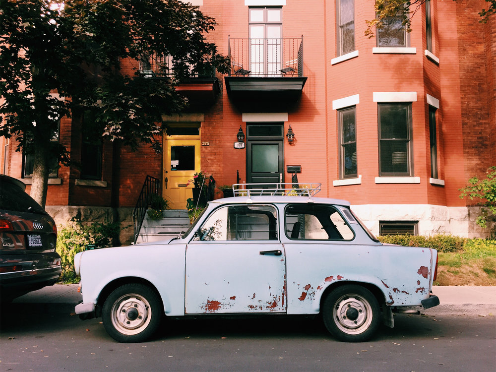 Adorable jalopy in Westmount's Victoria Village, via Lora Weaver Mysteries by Katy Leen